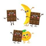 Chocolate, plátano, naranja, caracteres del vector Imagen de archivo libre de regalías
