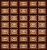 Chocolate plate and pieces background Royalty Free Stock Photos