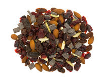 Chocolate plus nuts and cranberry trail mix top view Stock Photography