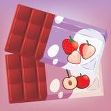 Chocolate poner crema de la fruta stock de ilustración