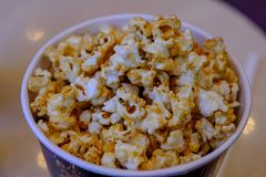 Chocolate popcorn on blow ready for serve on movie time royalty free stock image