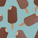 Chocolate popsicle ice cream retro seamless background Stock Image