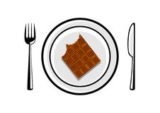 Chocolate on porcelain plate Royalty Free Stock Photography