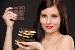 Chocolate - portrait healthy woman enjoy sweets Stock Images