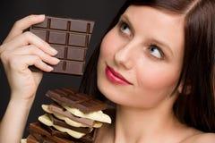 Chocolate - portrait healthy woman enjoy sweets Stock Photos