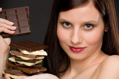 Chocolate - portrait healthy woman enjoy sweets Royalty Free Stock Photography