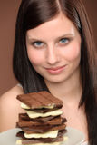 Chocolate - portrait young woman desire. Chocolate - portrait of young woman desire tasty sweets Royalty Free Stock Photography