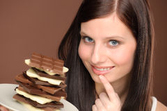 Chocolate - portrait young woman desire Stock Photo