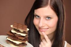 Chocolate - portrait young woman desire. Chocolate - portrait of young woman desire tasty sweets Stock Photo