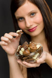 Chocolate - portrait young woman enjoy candy Stock Photo