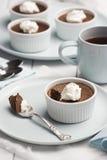 Chocolate Pot de Creme oder gebackener Vanillepudding Lizenzfreie Stockbilder