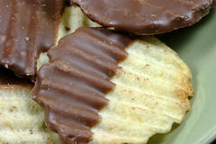 Chocolate Potato Chips. Potato chips with ridges dipped in rich milk chocolate Royalty Free Stock Photo