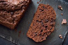 Chocolate Pound Cake. With Chocolate Drops. Homemade chocolate pastry for breakfast or dessert Stock Photos