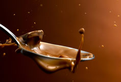 Chocolate. Poured chocolate in all its forms in the spoon Royalty Free Stock Photography