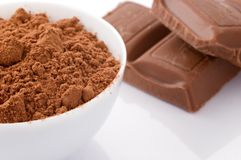 Chocolate powder and milk chocolate blocks Stock Photo