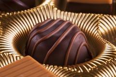Chocolate praline in close up Stock Image