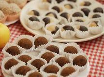 Chocolate praline or truffle close up Stock Photography