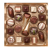 Chocolate pralines in box Stock Photography