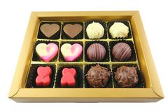 Chocolate Pralines. In a box Stock Photography