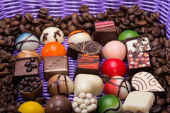 chocolate pralines and coffee beans Royalty Free Stock Image