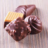 Chocolate pralines of different kinds Stock Image
