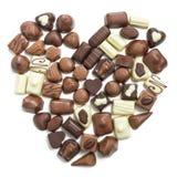 Chocolate pralines heart Stock Photo