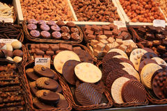 Chocolate pralines at a market Stock Photography