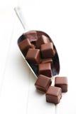 Chocolate pralines on metal scoop Royalty Free Stock Photos