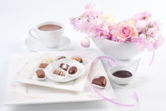 Chocolate pralines with spring decorations Stock Photography