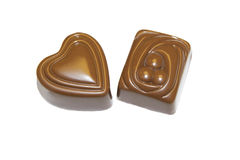 CHOCOLATE PRALINES AND TRUFFLES. Produced pralines and truffles, chocolate made stock photo