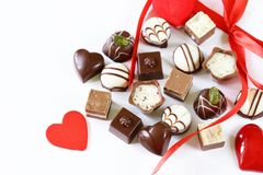 Chocolate pralines for Valentines day. Holiday Royalty Free Stock Photos