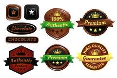 Chocolate Premium Authentic Badges. Five premium quality authentic Badges in vector Royalty Free Stock Photo