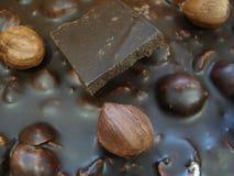 Chocolate preto com avelã Uma parte de chocolate em uma barra de chocolate Fotografia de Stock