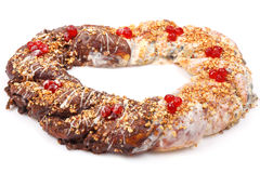 Chocolate pretzel with almond Stock Photo