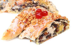 Chocolate pretzel with almond Stock Photography