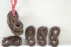 Chocolate pretzels Royalty Free Stock Images