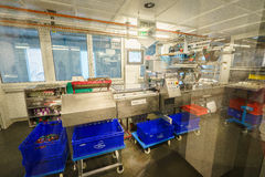 Chocolate production line in industrial factory Royalty Free Stock Photos