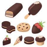 Chocolate products for people. Chocolate desserts icon in set collection on cartoon style Stock Image