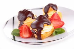 Chocolate profiterole Stock Photo