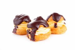 Chocolate profiterole Stock Images
