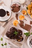 Chocolate profiteroles. Chocolate profiteroles with whipped cream on white dish royalty free stock photos