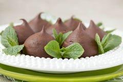 Chocolate profiteroles with cottage. Stock Photos