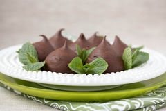 Chocolate profiteroles with cottage. Royalty Free Stock Images
