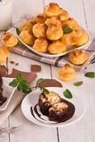 Chocolate profiteroles. Chocolate profiteroles with whipped cream on white dish stock photo