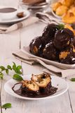 Chocolate profiteroles. stock photos