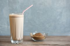 Chocolate Protein Shake. Healthy Sport Fitness Drink with Whey Protein. Chocolate Smoothie stock photos