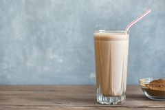 Chocolate Protein Shake. Healthy Sport Fitness Drink with Whey Protein. Chocolate Smoothie Stock Photo