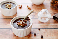 Chocolate pudding in baking dish Stock Photography