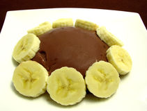 Chocolate pudding with banana slices Royalty Free Stock Image