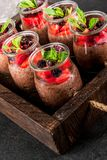 Chocolate pudding with chia seeds Royalty Free Stock Photo